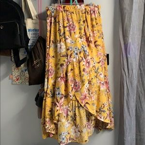 Yellow floral high low skirt